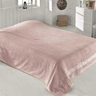 Махровая простынь-одеяло-покрывало Pupilla EFSUN махра бамбук грязно-розовый