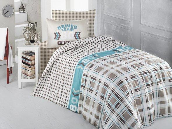 Комплект постельного белья подростковый Altinbasak DRIVER TEAM ранфорс хлопок бежевый 1,5 спальный, фото, фотография