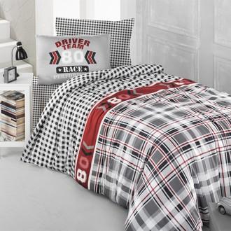 Комплект постельного белья подростковый Altinbasak DRIVER TEAM ранфорс хлопок серый
