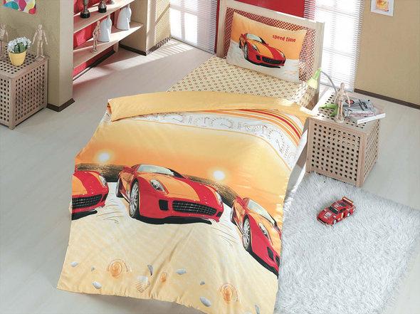 Комплект постельного белья подростковый Altinbasak SPEED TIME ранфорс хлопок красный 1,5 спальный, фото, фотография