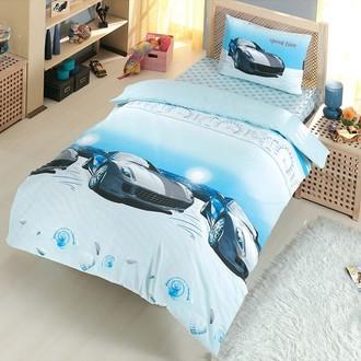 Комплект постельного белья подростковый Altinbasak SPEED TIME ранфорс хлопок голубой