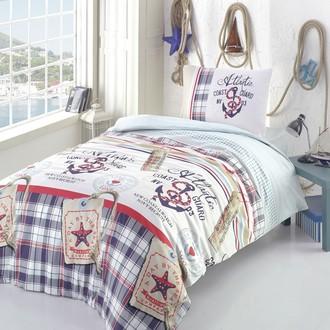 Комплект постельного белья подростковый Altinbasak ATLANTIC ранфорс хлопок голубой