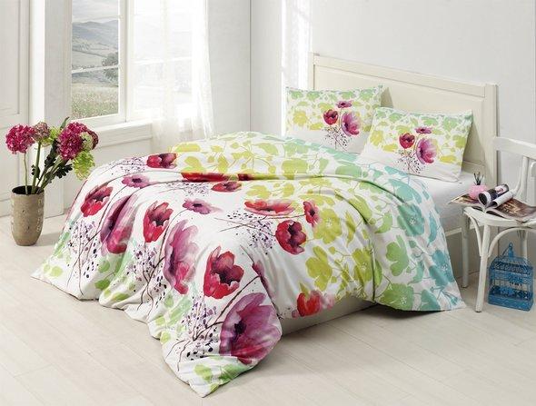 Комплект постельного белья Altinbasak ELFIN ранфорс хлопок зелёный евро, фото, фотография