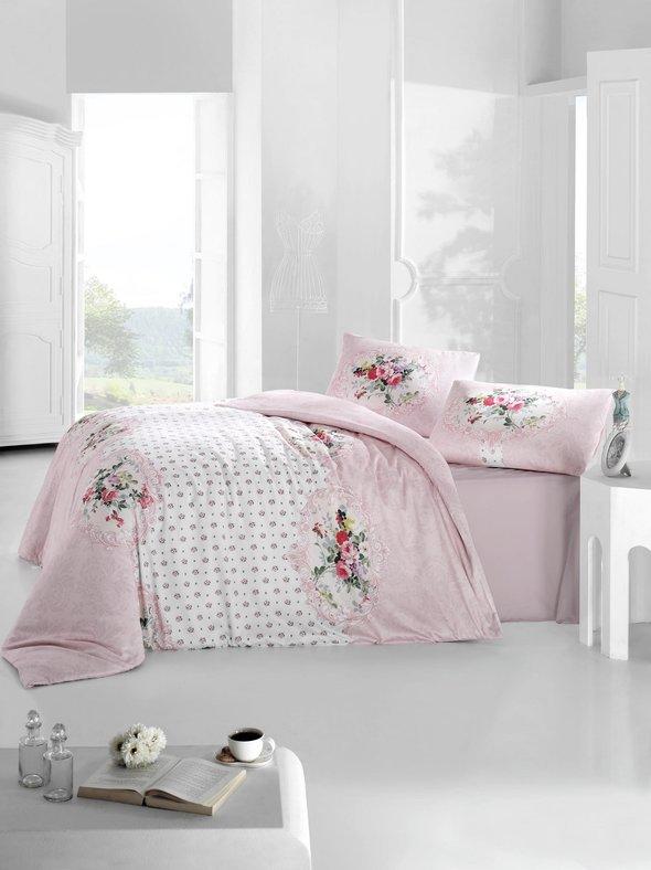Комплект постельного белья Altinbasak MIRA ранфорс хлопок розовый евро, фото, фотография