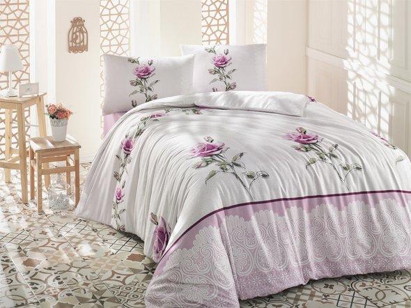 Комплект постельного белья Altinbasak ALMILA ранфорс хлопок розовый евро, фото, фотография