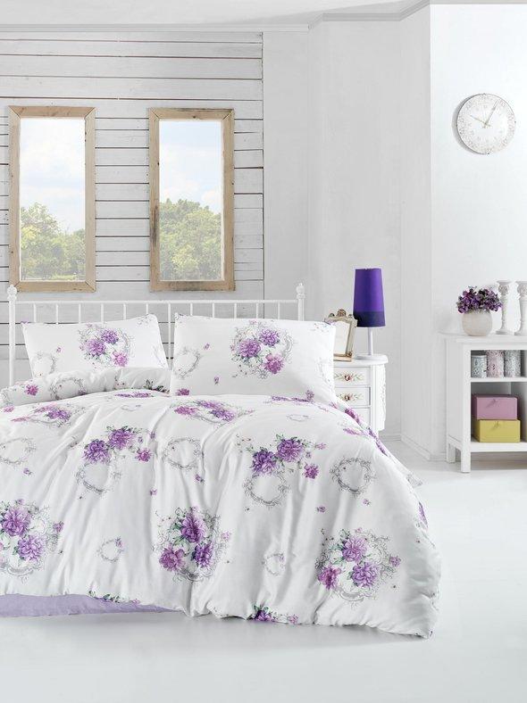 Комплект постельного белья Altinbasak ZAIRA ранфорс хлопок сиреневый евро, фото, фотография