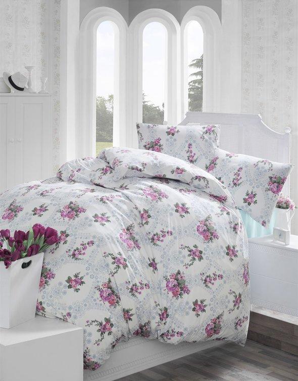 Комплект постельного белья Altinbasak ARNES ранфорс хлопок розовый евро, фото, фотография