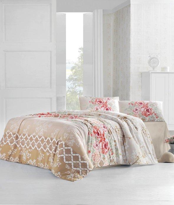 Комплект постельного белья Altinbasak ASEL ранфорс хлопок бежевый евро, фото, фотография