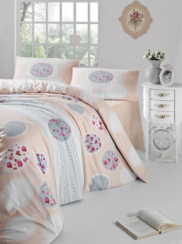 Комплект постельного белья Altinbasak BELIN ранфорс хлопок кремовый евро, фото, фотография