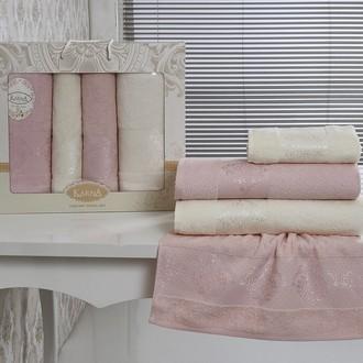 Набор полотенец банных Karna DORA 4 пр. махра хлопок светло-розовый+кремовый