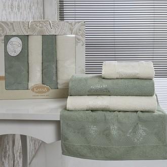 Набор полотенец банных Karna DORA 4 пр. махра хлопок кремовый+зелёный
