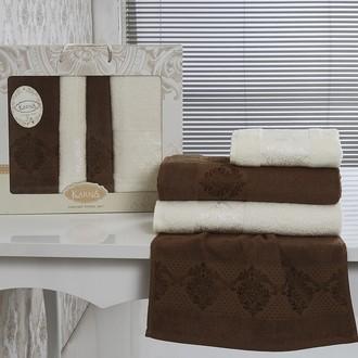 Набор полотенец банных Karna DORA 4 пр. махра хлопок кремовый+коричневый