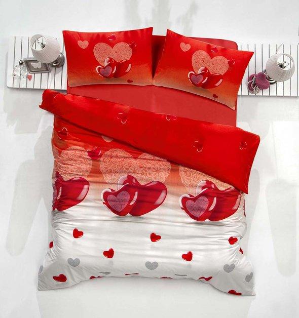Комплект постельного белья Altinbasak LOVELY ранфорс хлопок красный евро, фото, фотография