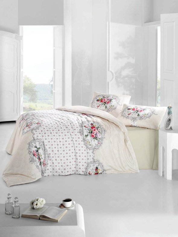 Комплект постельного белья Altinbasak MIRA ранфорс хлопок кремовый евро, фото, фотография