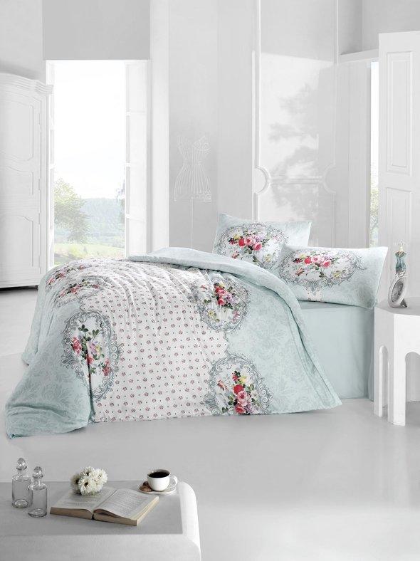 Комплект постельного белья Altinbasak MIRA ранфорс хлопок голубой евро, фото, фотография