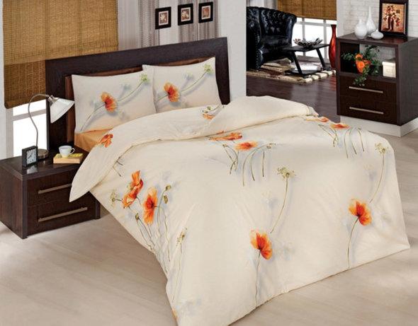 Комплект постельного белья Altinbasak NAZENIN ранфорс хлопок кремовый евро, фото, фотография