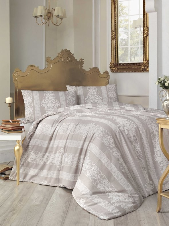 Комплект постельного белья Altinbasak NOBBY ранфорс хлопок (коричневый) евро, фото, фотография