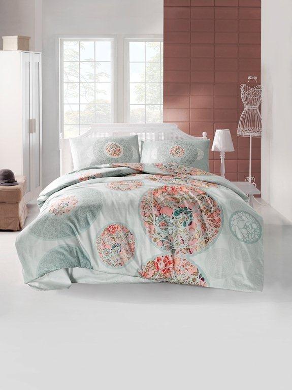 Комплект постельного белья Altinbasak IZEM ранфорс хлопок голубой евро, фото, фотография