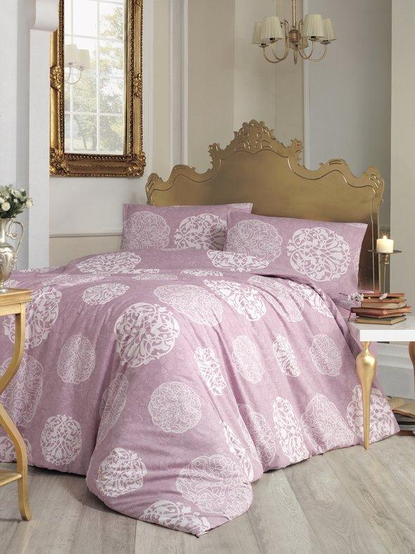 Комплект постельного белья Altinbasak BELLO ранфорс хлопок кремовый грязно-розовый, фото, фотография