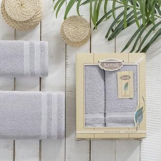 Набор полотенец Karna PETEK махра хлопок 50х90, 70х140 коробка серый