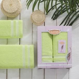 Набор полотенец Karna PETEK махра хлопок 50х90, 70х140 коробка зелёный