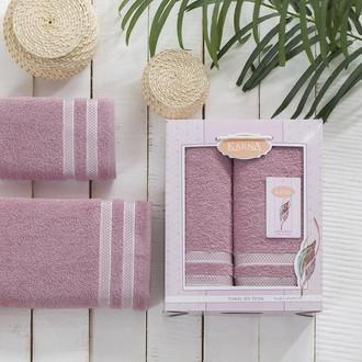 Набор полотенец Karna PETEK махра хлопок 50*90, 70*140 коробка (грязно-розовый)