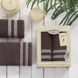 Набор полотенец Karna PETEK махра хлопок 50х90, 70х140 коробка коричневый