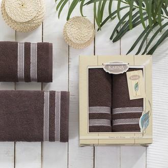 Набор полотенец Karna PETEK махра хлопок 50*90, 70*140 коробка (коричневый)