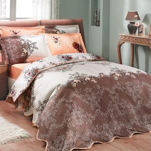 Постельное белье с покрывалом-пододеяльником Hobby Home Collection DELFINA-CARMEN хлопковый поплин коричневый+персиковый евро-макси