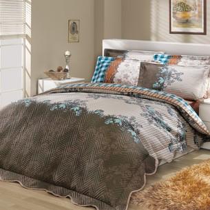 Постельное белье с покрывалом-пододеяльником Hobby Home Collection DELFINA-SERENA хлопковый поплин синий+синий евро-макси