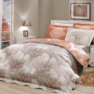 Комплект постельного белья с покрывалом-пододеяльником Hobby Home Collection JUILLET-AMANDA хлопковый поплин (кремовый+коричневый)