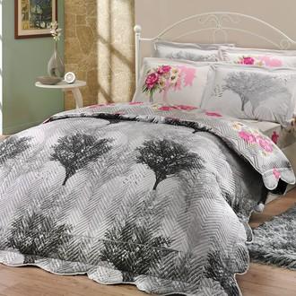 Постельное белье с покрывалом-пододеяльником Hobby Home Collection JUILLET-CALVINA хлопковый поплин (серый+серый)