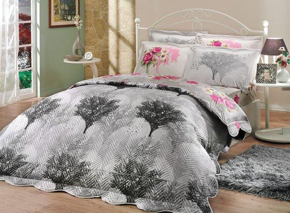 Постельное белье с покрывалом-пододеяльником Hobby Home Collection JUILLET-CALVINA хлопковый поплин (серый+серый) евро-макси, фото, фотография