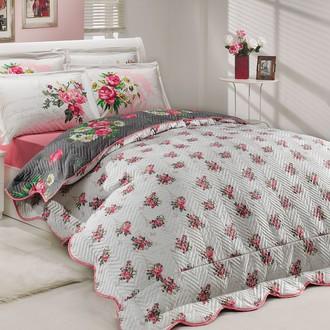 Комплект постельного белья с покрывалом-пододеяльником Hobby Home Collection PARIS SPRING-CALVINA хлопковый поплин (розовый+серый)