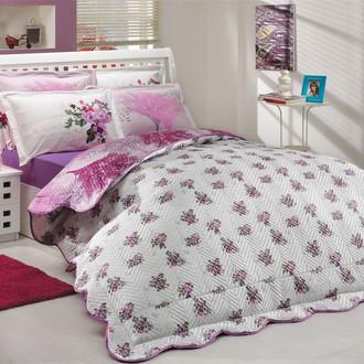Комплект постельного белья с покрывалом-пододеяльником Hobby Home Collection PARIS SPRING-JUILLET хлопковый поплин (лиловый+фуксия)