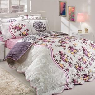 Постельное белье с покрывалом-пододеяльником Hobby Home Collection SUSANA-BELINDA хлопковый поплин лиловый+лиловый евро-макси