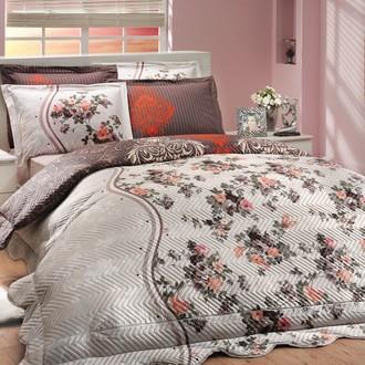 Комплект постельного белья с покрывалом-пододеяльником Hobby Home Collection SUSANA-ROYAL хлопковый поплин (коричневый+кремовый)