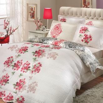 Комплект постельного белья с покрывалом-пододеяльником Hobby Home Collection VIYELLA-ROYAL хлопковый поплин (красный+кремовый)