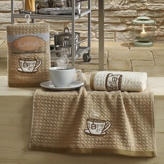 Набор полотенец Karna LEMON вафля хлопок (коричневый V2)