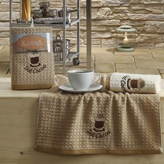 Набор полотенец Karna LEMON вафля хлопок (коричневый V4)