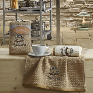 Набор полотенец Karna LEMON вафля хлопок коричневый V3 45х65 2 шт.