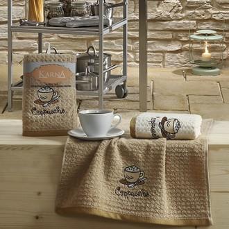 Набор полотенец Karna LEMON вафля хлопок (коричневый V3)