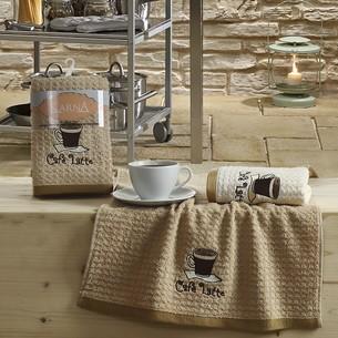 Набор полотенец Karna LEMON вафля хлопок коричневый V1 45х65 2 шт.