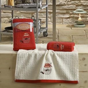 Набор полотенец Karna LEMON вафля хлопок красный V3 45х65 2 шт.