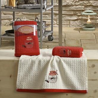 Набор полотенец Karna LEMON вафля хлопок (красный V3)