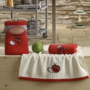 Набор полотенец Karna LEMON вафля хлопок красный V1 45х65 2 шт.