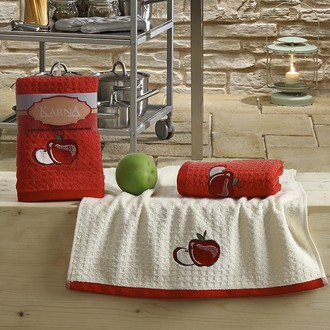 Набор полотенец Karna LEMON вафля хлопок (красный V1)