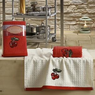 Набор полотенец Karna LEMON вафля хлопок красный V2 45х65 2 шт.
