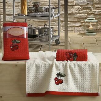 Набор полотенец Karna LEMON вафля хлопок (красный V2)