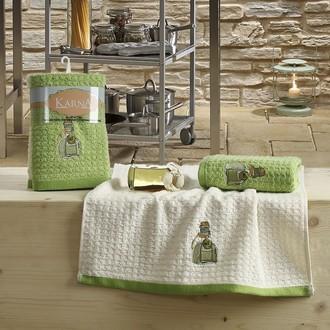 Набор полотенец Karna LEMON вафля хлопок (зелёный V3)